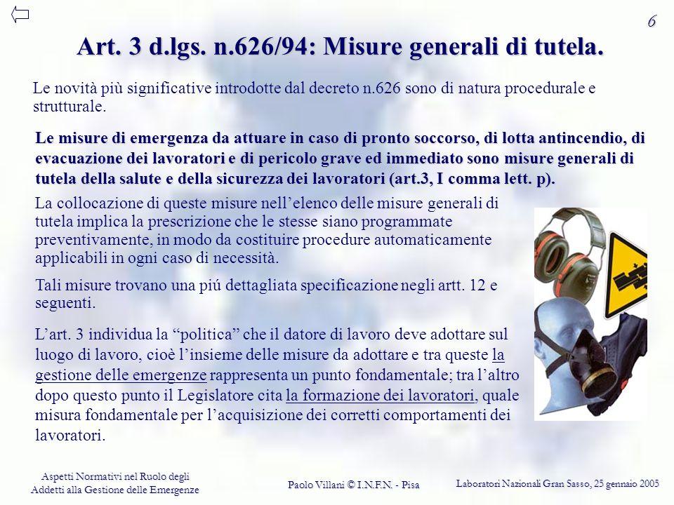 Art. 3 d.lgs. n.626/94: Misure generali di tutela.