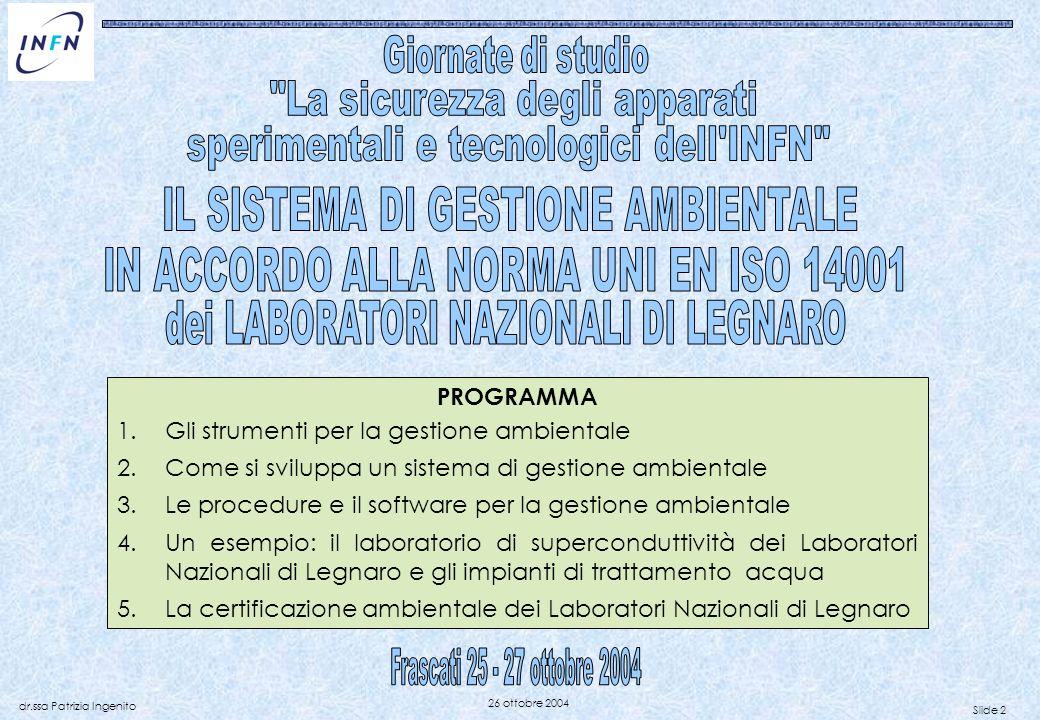 Frascati 25 - 27 ottobre 2004 La sicurezza degli apparati