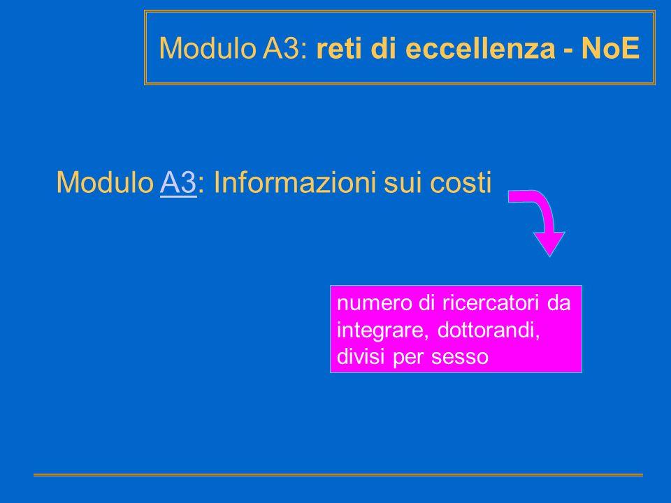 Modulo A3: reti di eccellenza - NoE