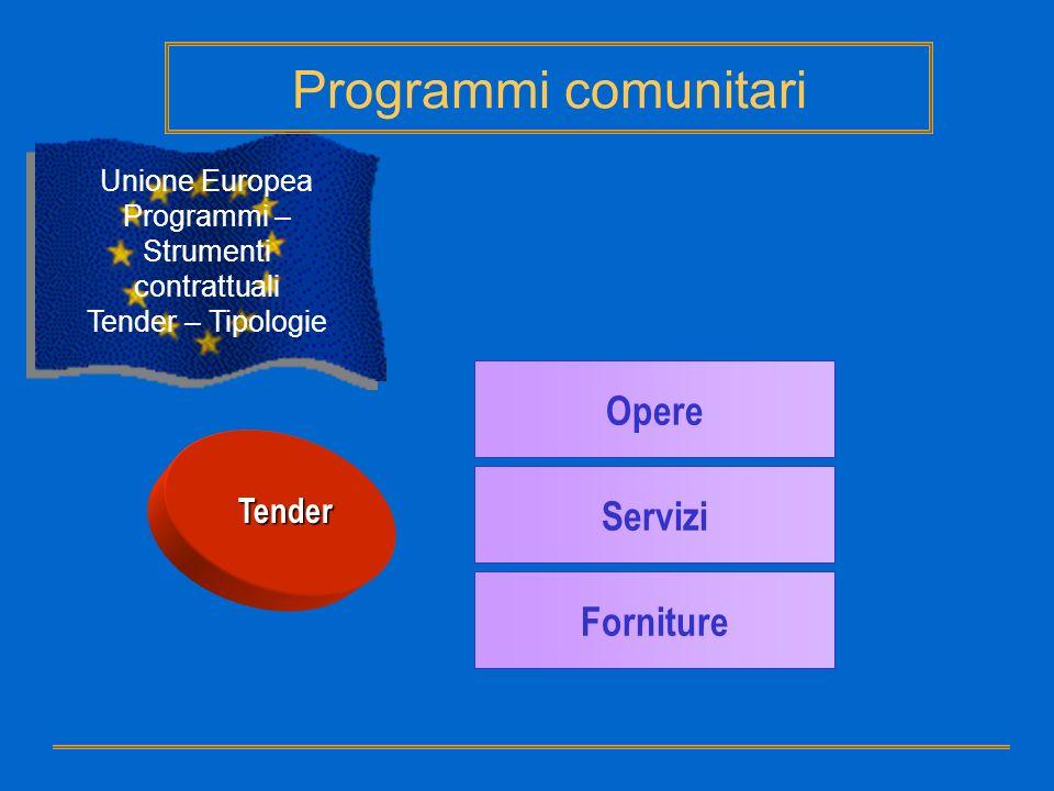 Unione Europea Programmi – Strumenti contrattuali Tender – Tipologie