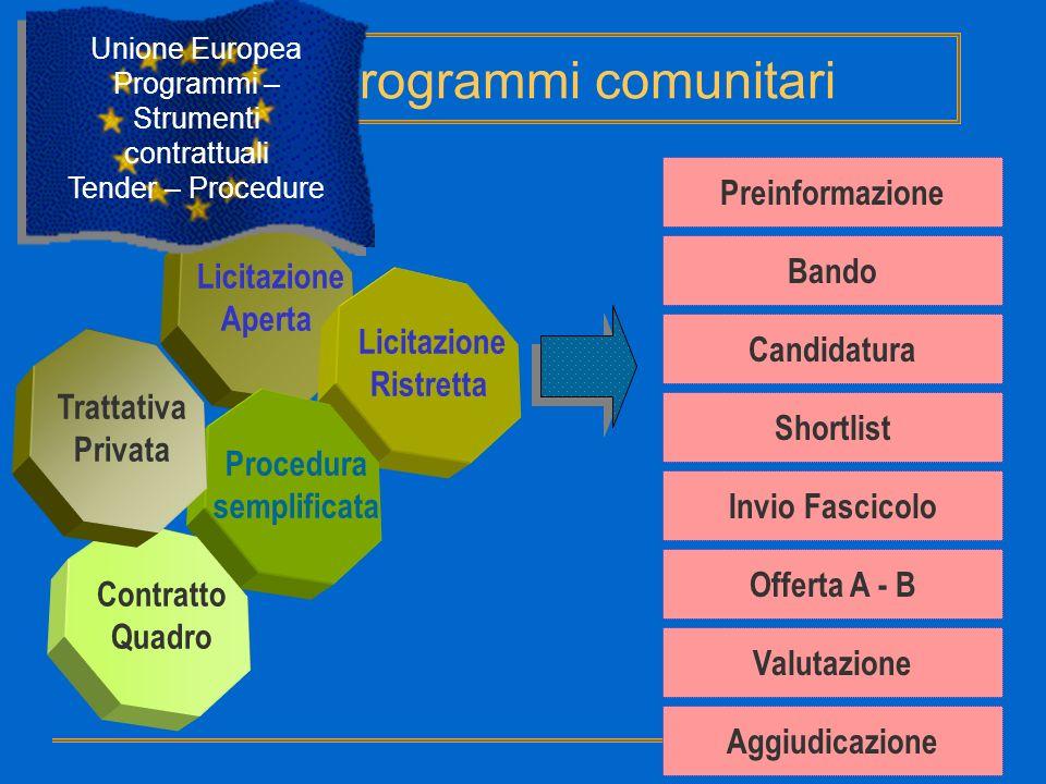 Unione Europea Programmi – Strumenti contrattuali Tender – Procedure