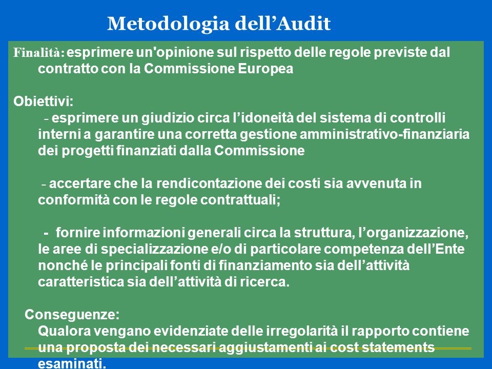 Metodologia dell'Audit