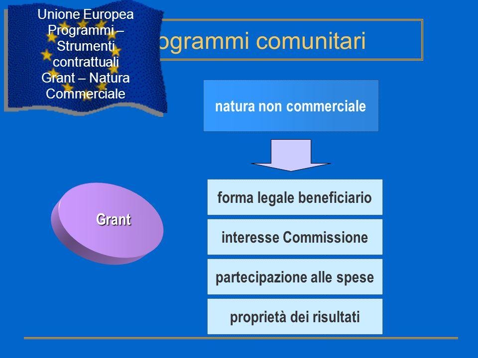 Programmi comunitari natura non commerciale forma legale beneficiario