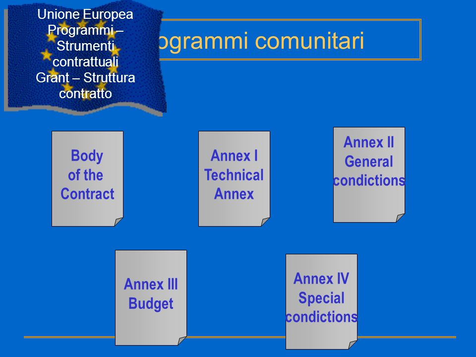 Programmi comunitari Annex II General condictions Body of the Contract