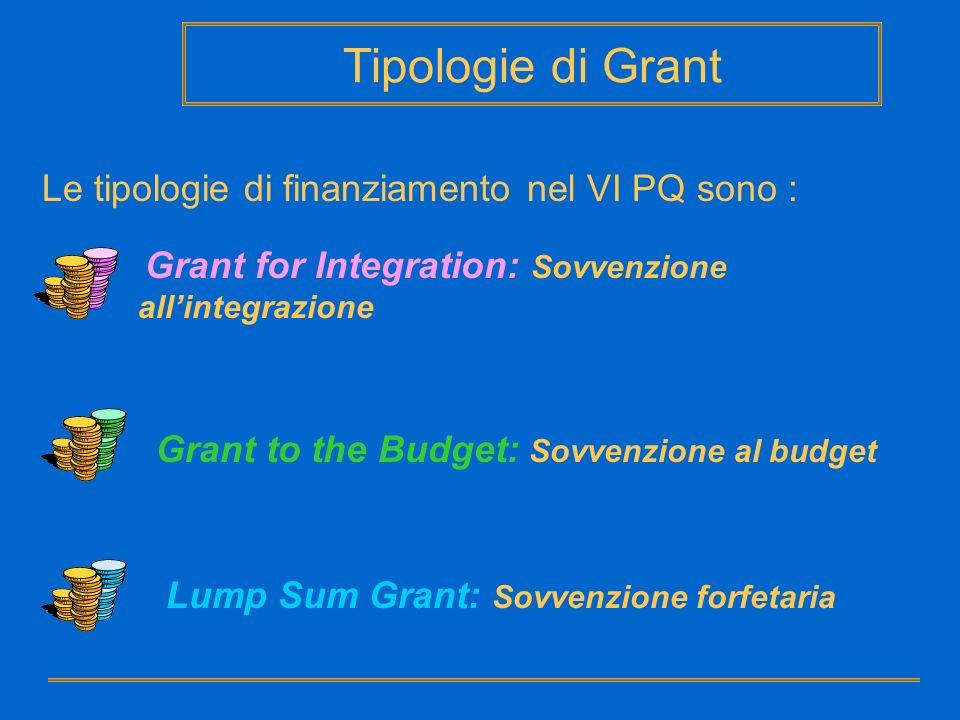 Tipologie di Grant Le tipologie di finanziamento nel VI PQ sono :