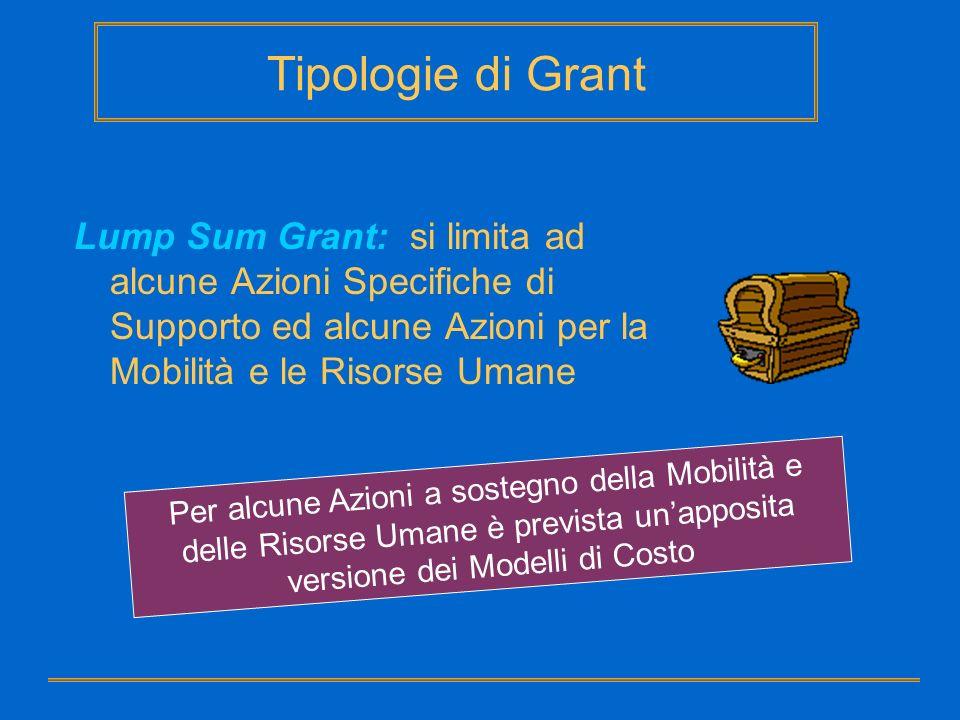 Tipologie di Grant Lump Sum Grant: si limita ad alcune Azioni Specifiche di Supporto ed alcune Azioni per la Mobilità e le Risorse Umane.