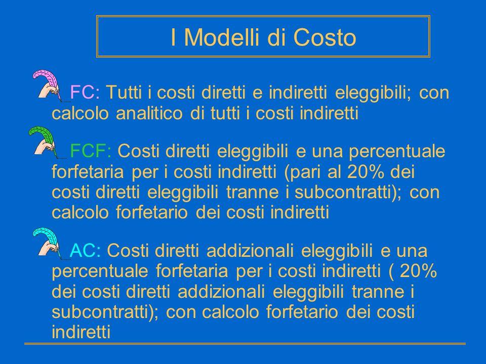 I Modelli di Costo FC: Tutti i costi diretti e indiretti eleggibili; con calcolo analitico di tutti i costi indiretti.