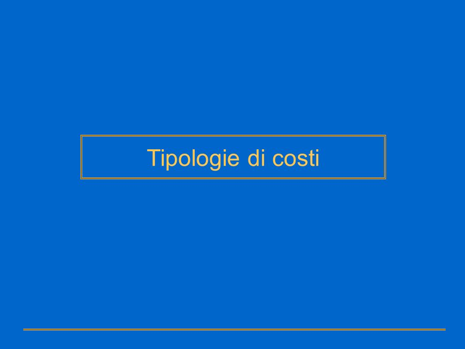 Tipologie di costi