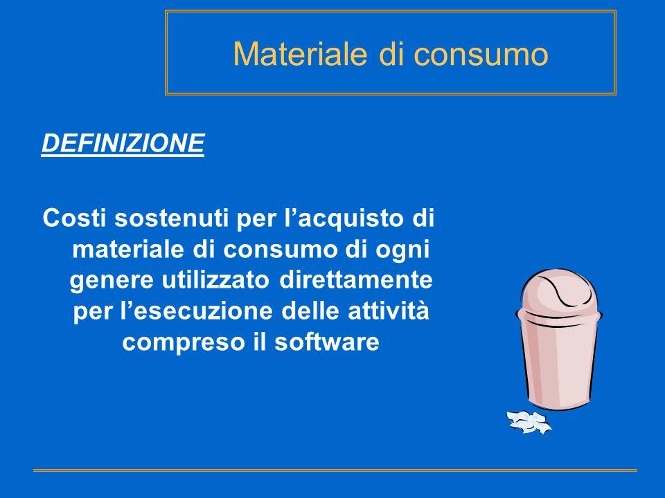 Materiale di consumo DEFINIZIONE