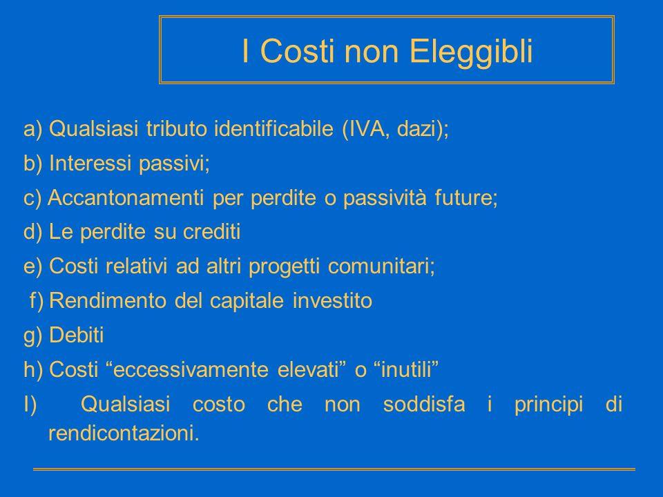 I Costi non Eleggibli a) Qualsiasi tributo identificabile (IVA, dazi);