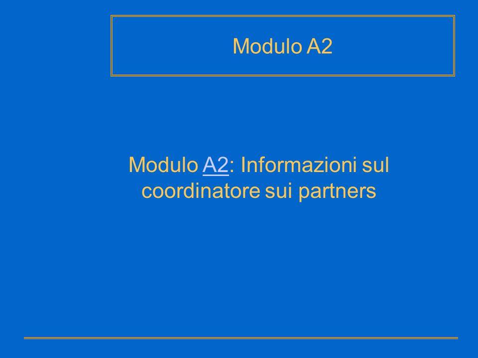 Modulo A2: Informazioni sul coordinatore sui partners