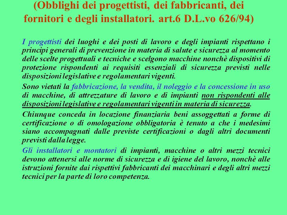 (Obblighi dei progettisti, dei fabbricanti, dei fornitori e degli installatori. art.6 D.L.vo 626/94)