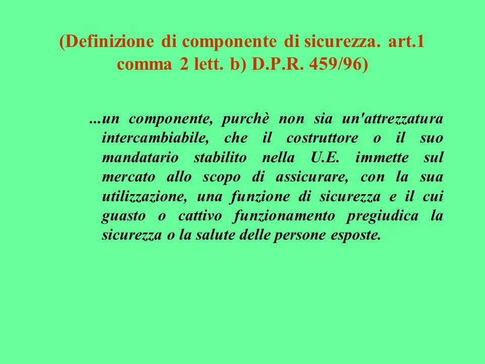 (Definizione di componente di sicurezza. art. 1 comma 2 lett. b) D. P