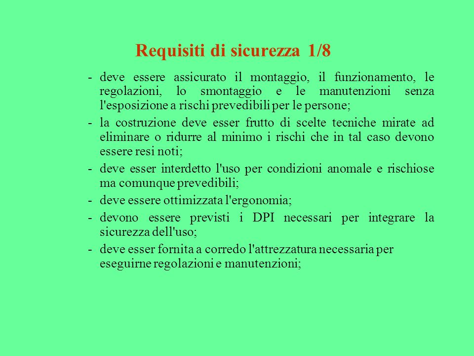 Requisiti di sicurezza 1/8