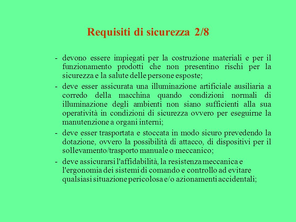 Requisiti di sicurezza 2/8