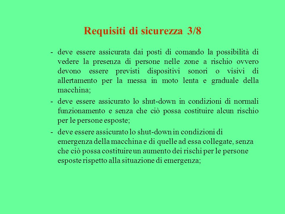 Requisiti di sicurezza 3/8