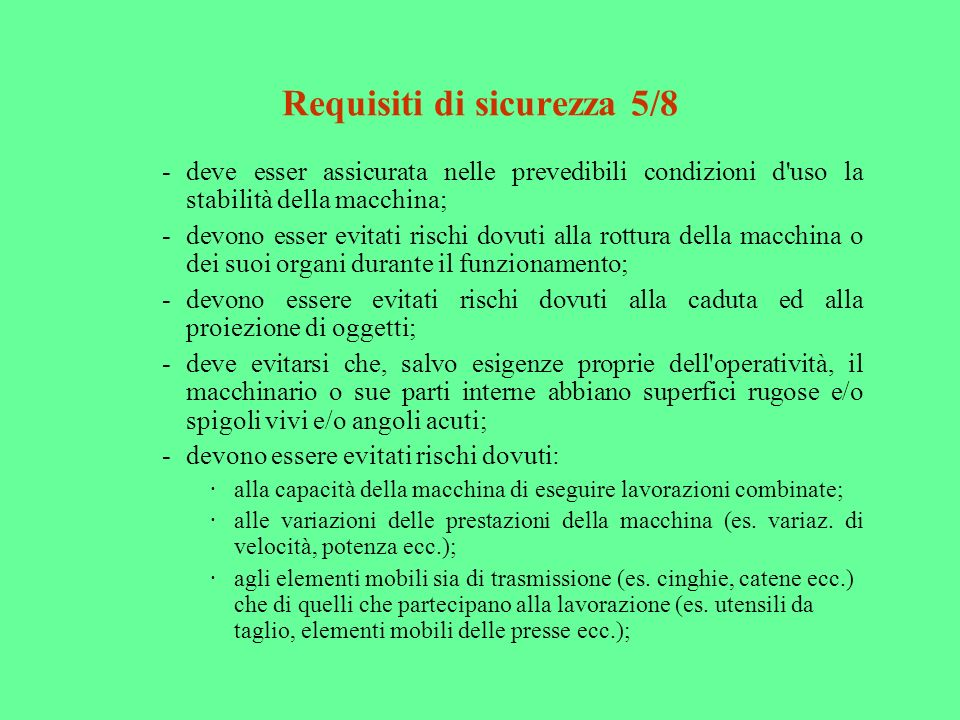 Requisiti di sicurezza 5/8