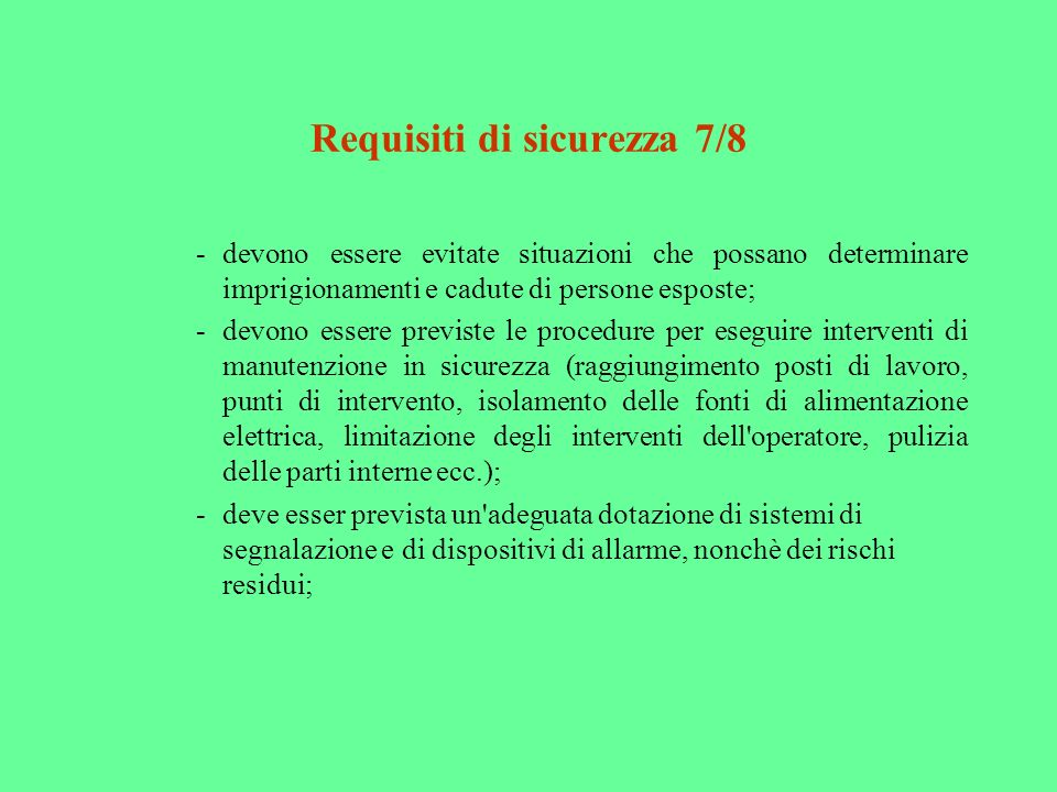 Requisiti di sicurezza 7/8
