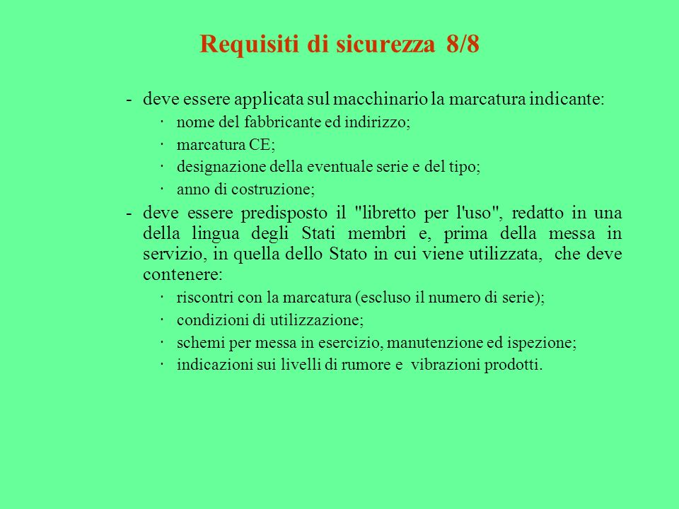Requisiti di sicurezza 8/8