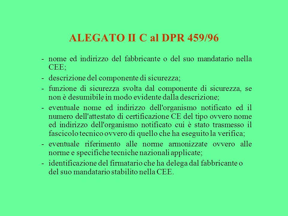 ALEGATO II C al DPR 459/96 - nome ed indirizzo del fabbricante o del suo mandatario nella CEE; - descrizione del componente di sicurezza;