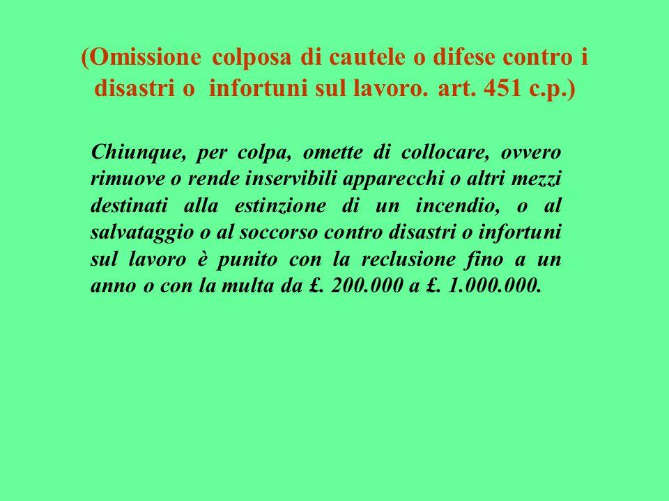 (Omissione colposa di cautele o difese contro i disastri o infortuni sul lavoro. art. 451 c.p.)