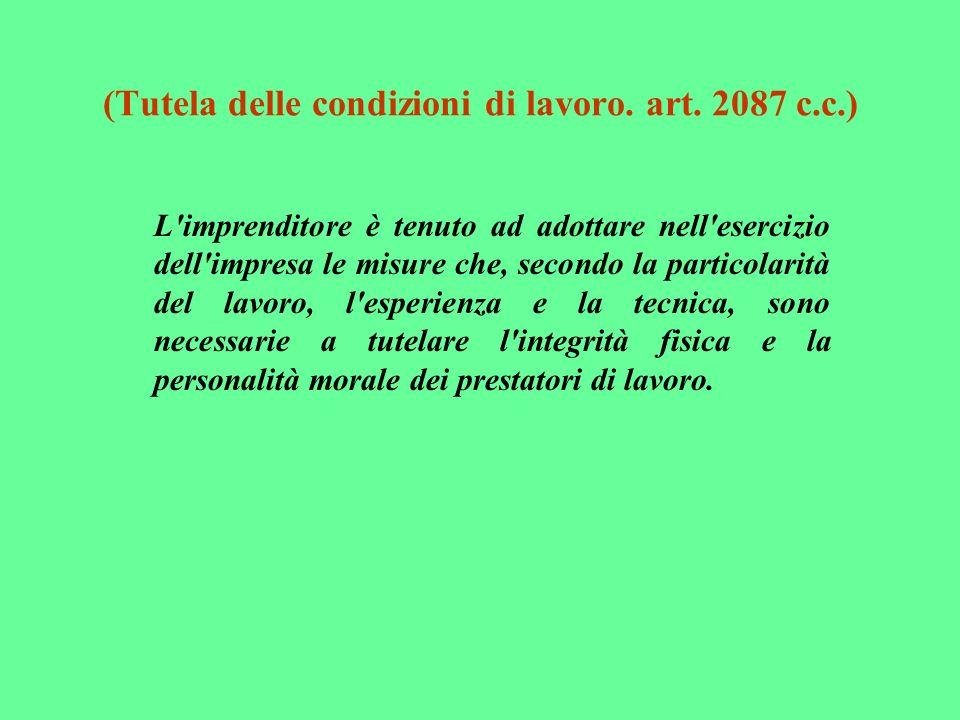 (Tutela delle condizioni di lavoro. art. 2087 c.c.)