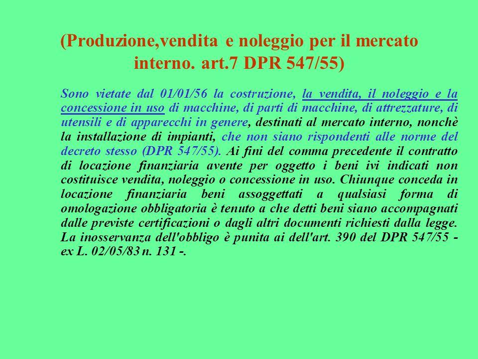 (Produzione,vendita e noleggio per il mercato interno. art