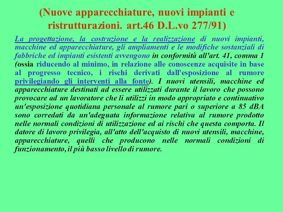 (Nuove apparecchiature, nuovi impianti e ristrutturazioni. art.46 D.L.vo 277/91)