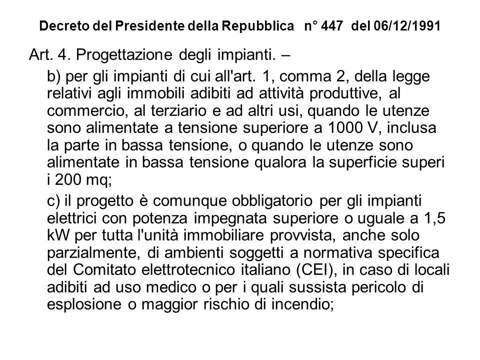 Decreto del Presidente della Repubblica n° 447 del 06/12/1991