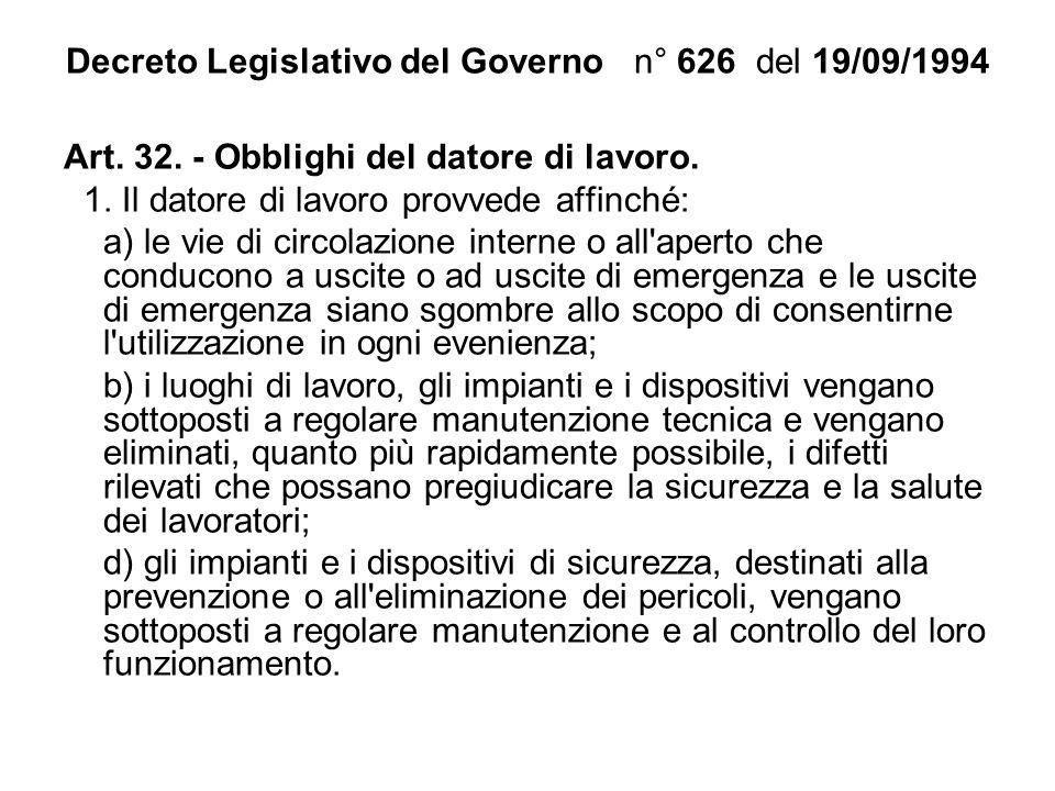 Decreto Legislativo del Governo n° 626 del 19/09/1994