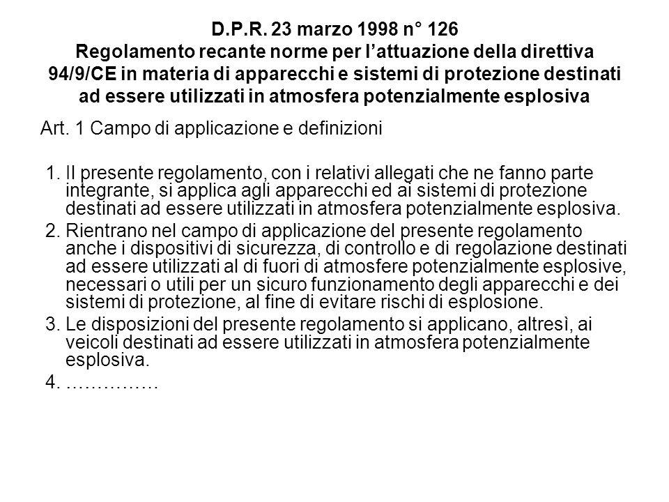 D.P.R. 23 marzo 1998 n° 126 Regolamento recante norme per l'attuazione della direttiva 94/9/CE in materia di apparecchi e sistemi di protezione destinati ad essere utilizzati in atmosfera potenzialmente esplosiva