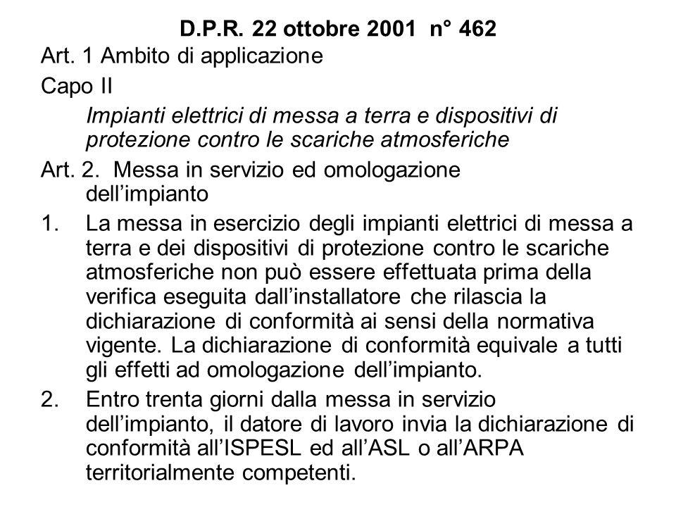 D.P.R. 22 ottobre 2001 n° 462 Art. 1 Ambito di applicazione. Capo II.