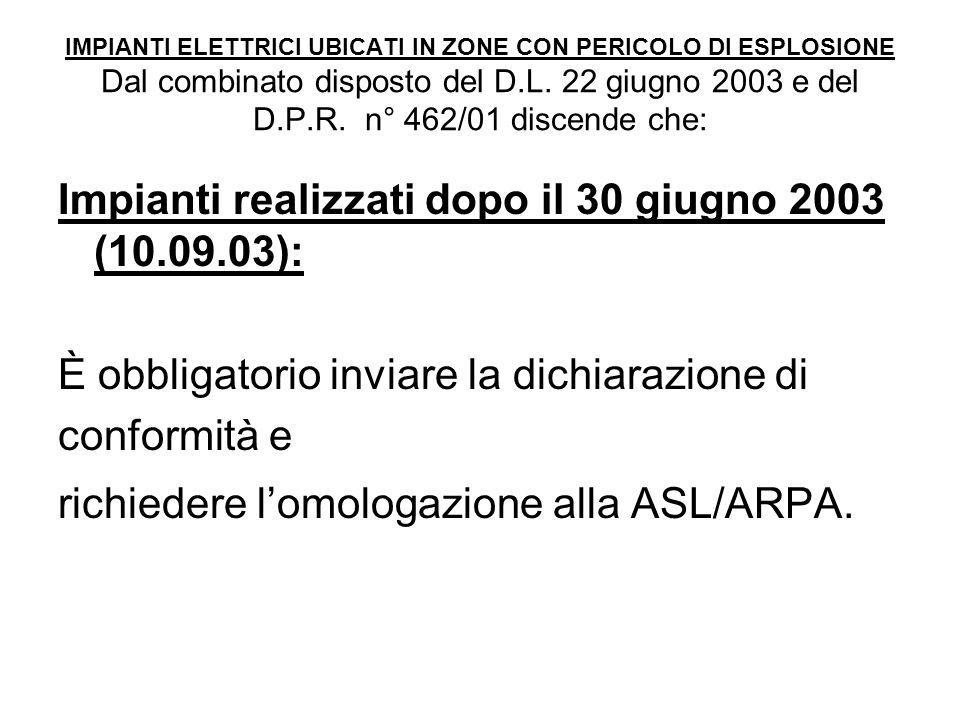 Impianti realizzati dopo il 30 giugno 2003 (10.09.03):