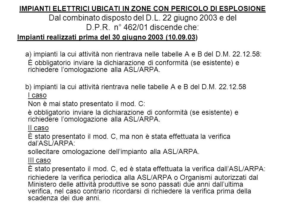 IMPIANTI ELETTRICI UBICATI IN ZONE CON PERICOLO DI ESPLOSIONE Dal combinato disposto del D.L. 22 giugno 2003 e del D.P.R. n° 462/01 discende che: