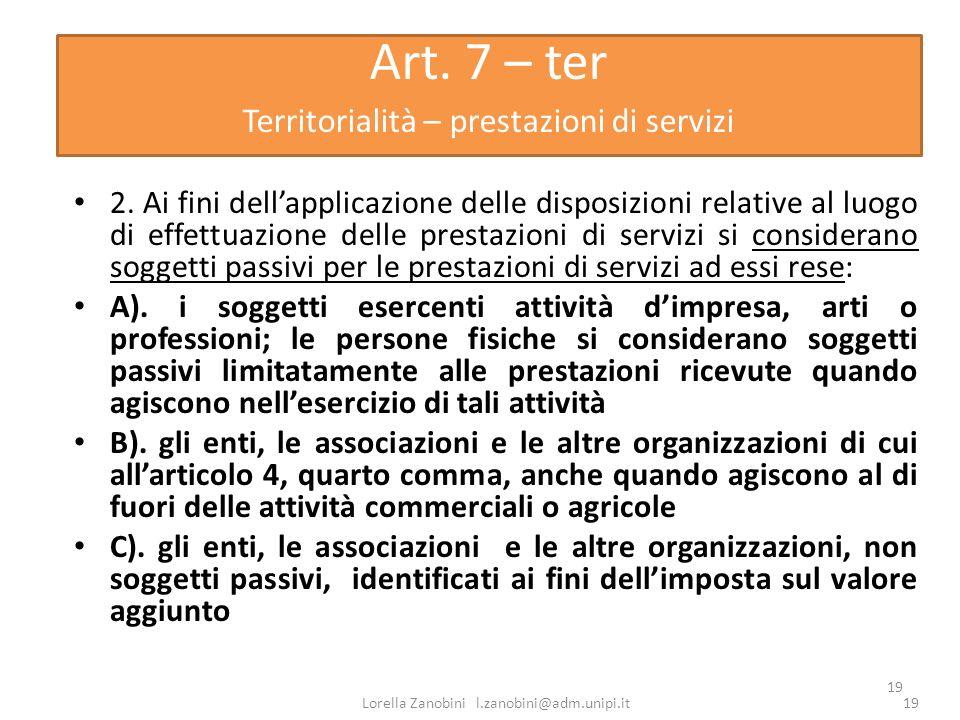 Art. 7 – ter Territorialità – prestazioni di servizi