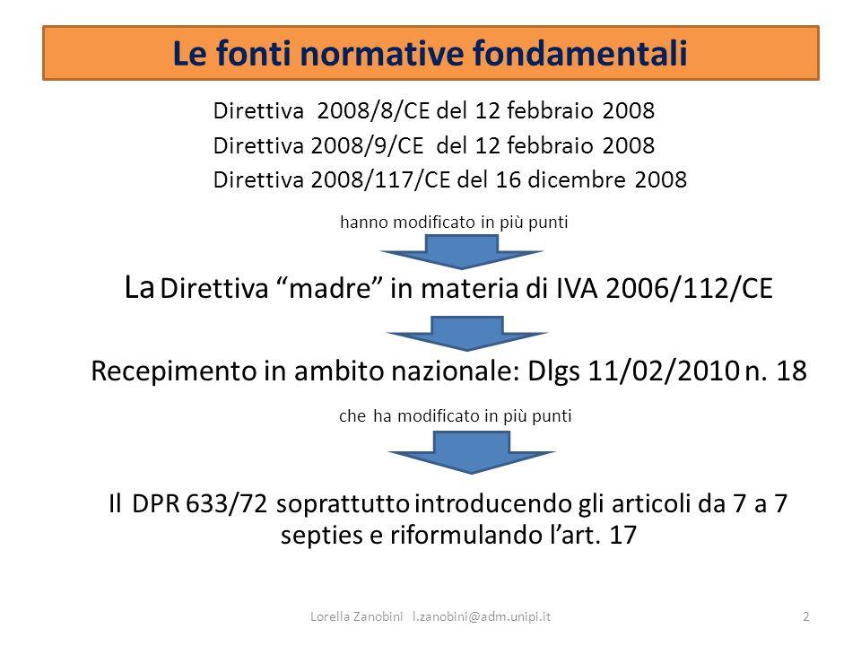 Le fonti normative fondamentali