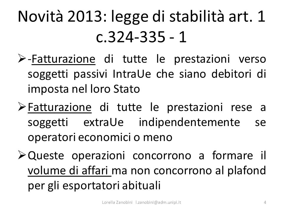 Novità 2013: legge di stabilità art. 1 c.324-335 - 1
