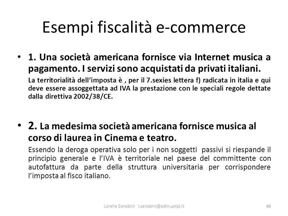 Esempi fiscalità e-commerce