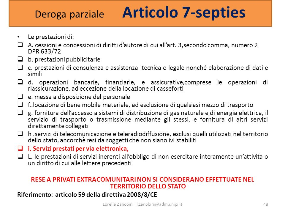 Deroga parziale Articolo 7-septies
