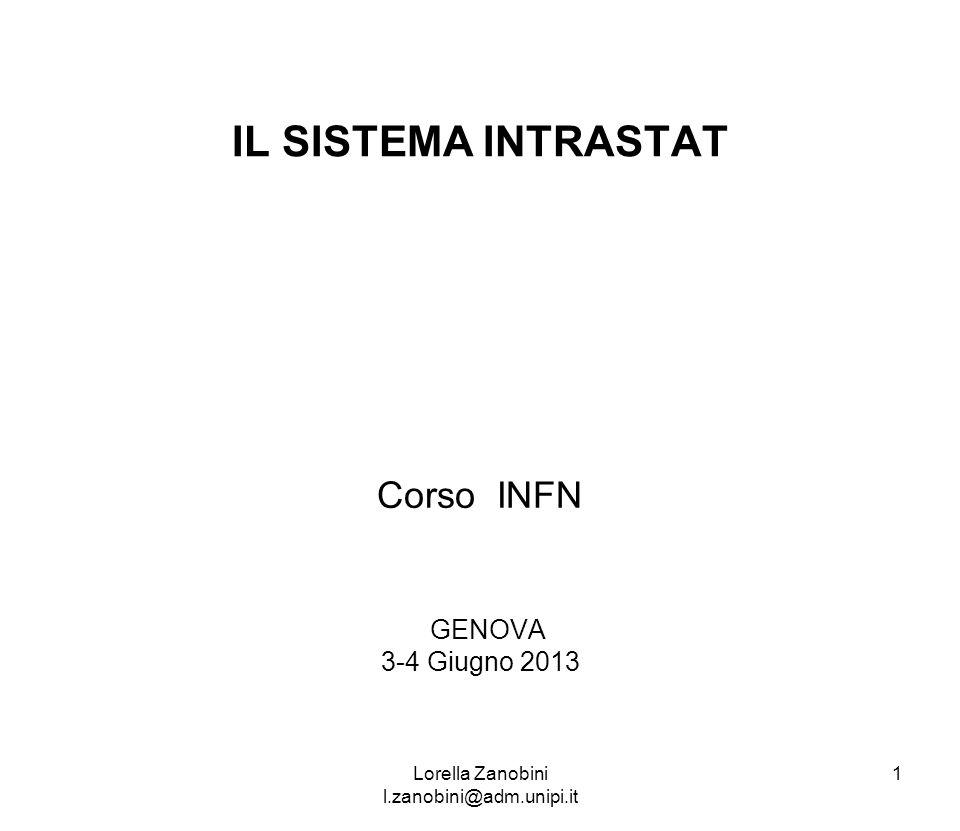 Corso INFN GENOVA 3-4 Giugno 2013