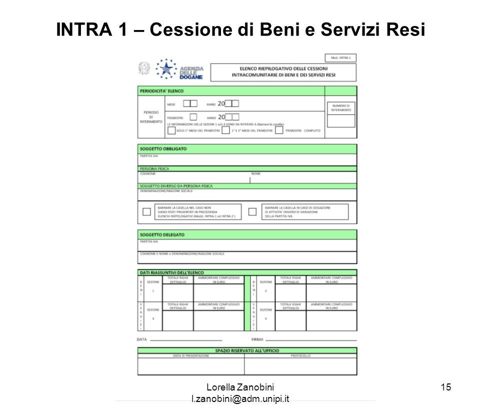 INTRA 1 – Cessione di Beni e Servizi Resi