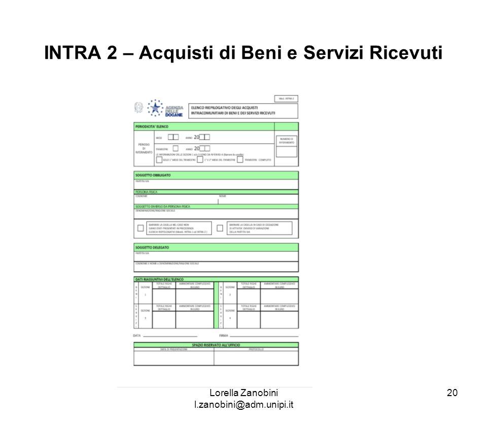 INTRA 2 – Acquisti di Beni e Servizi Ricevuti