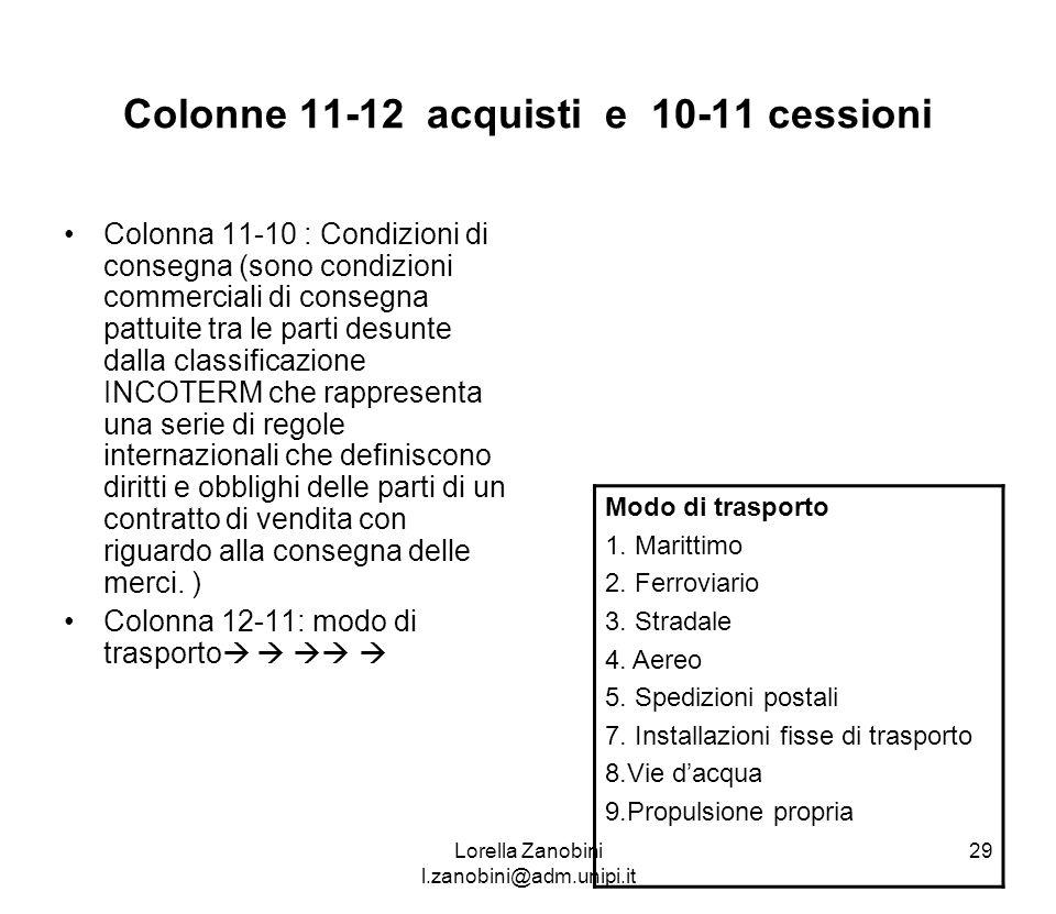 Colonne 11-12 acquisti e 10-11 cessioni