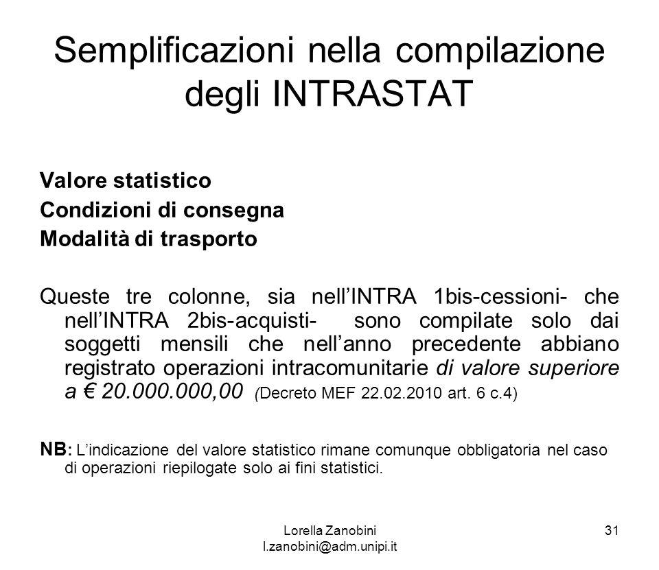 Semplificazioni nella compilazione degli INTRASTAT