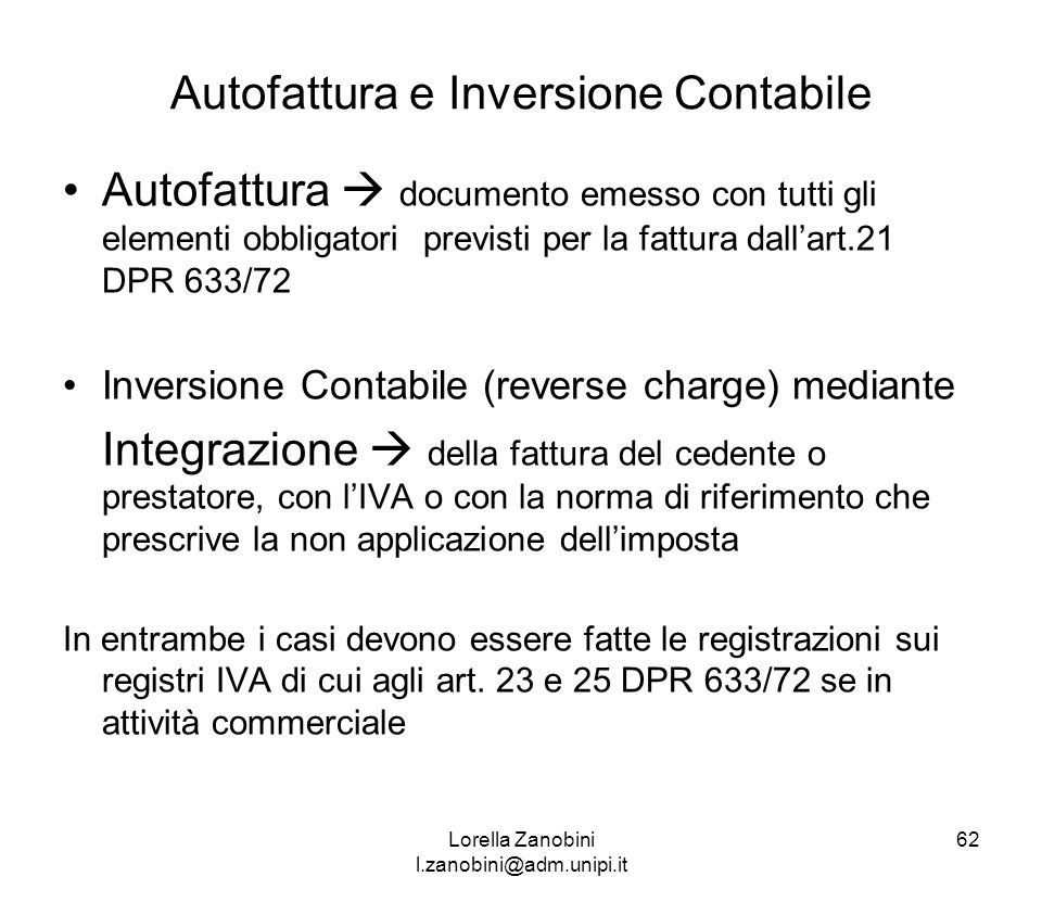 Autofattura e Inversione Contabile