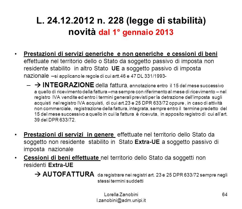 L. 24.12.2012 n. 228 (legge di stabilità) novità dal 1° gennaio 2013