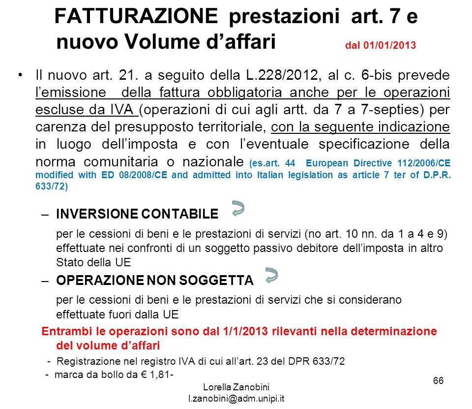 FATTURAZIONE prestazioni art. 7 e nuovo Volume d'affari dal 01/01/2013