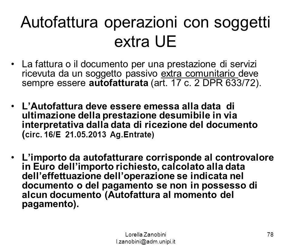Autofattura operazioni con soggetti extra UE
