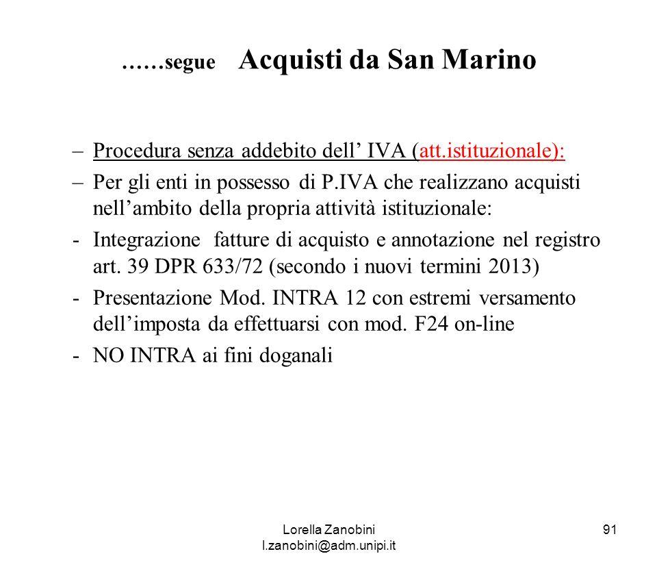 ……segue Acquisti da San Marino
