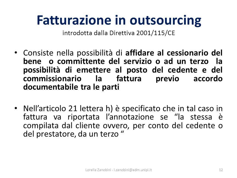 Fatturazione in outsourcing introdotta dalla Direttiva 2001/115/CE
